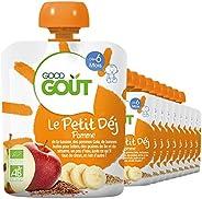 Good Goût - BIO - Gourde Petit Déj Pomme dès 6 Mois 70 g - Pack de 10