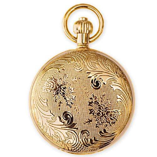 Watches Automatische mechanische Taschenuhr des kupfernen Metallgeheimgartens alte Shanghai-Männer und Frauen Retro- Clamshell(Gold) (Gold)