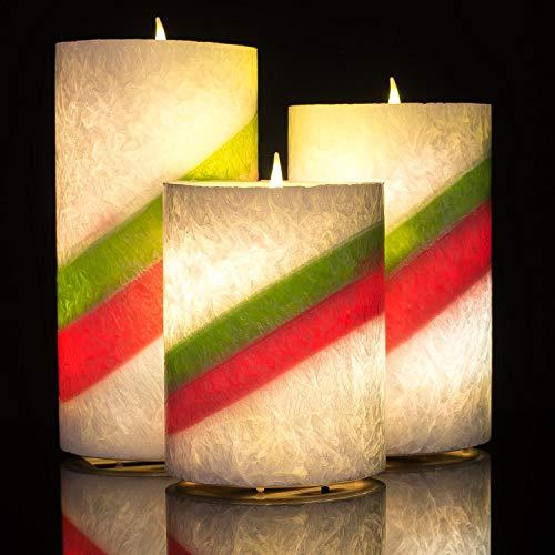 riebene flammenlose Kerze mit Timer, 3er Set Tropfen LED Votivkerze, elektrische Kerze mit flackernder Flamme für Geschenk, Spa, Badezimmer, Tisch,(Rainbow) ()