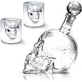 1000ml Carafe à Décanter Décanteur Bouteille de Vin Vodka Whisky avec 2pcs 73ml Verre à Vin Forme de Crâne Type 1