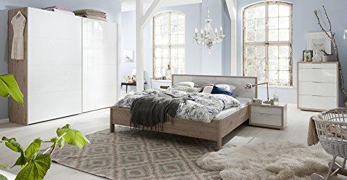 Camera da letto matrimoniale componibile completa color rovere naturale e laccato bianco lucido