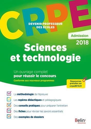 Sciences et technologies : Epreuve orale d'admission CRPE
