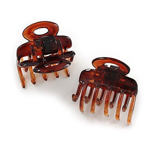 Set von 2kleine glänzende braun Acryl Haar Krallen/Klammern–30mm lang