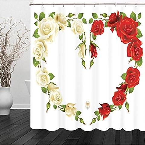 visuels 3d Espace Blanc Rose rouge amour Cœur Impression numérique Polyester Tissus imperméable à l'eau et à la moisissure Occlusion Confidentialité Rideau de douche Embellir la salle de bain trois Dimensions coupées à suspendre Rideaux, claire, 150*180cm
