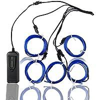 Elettroluminescente Wire (EL Wire) Splitter 5 X 1 metri d'ardore di effetto stroboscopico della luce al neon Set (Blue)