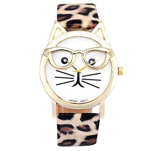 Damen Simple Uhren, Keepwin Frauen Simple Nette Gläser Katze Armbanduhr Analoges Quarzwerk Lederband Uhr fur Weiblich Hochschule Studierende Geschenk (Leopard)