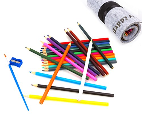 Happy Art Buntstifte Set mit Wolle Filz Wrap, 24Professional Bunte Bleistifte mit 1Bleistift,...