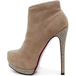 ROSELIGHT Stiefeletten Ankle Boots Schwarz, Beige oder Braun Strass Rosa Rote Sohle UVP 69,90€ (35, Braun)