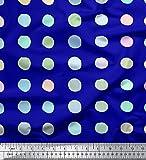 Soimoi Blau Viskose Chiffon Stoff Kreis geometrisch Stoff