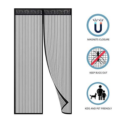 Hiveseen tenda zanzariera magnetica per porta, 120x220cm, anti insetti mosche zanzare, chiusura automatica con 18 calamita, velcro facile montaggio, per porta ingresso del balcone/terrazzo/scorrevole