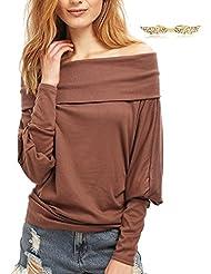 BYD Mujeres Blusas sin Tirantes Hombro Plana Camisetas Manga Larga Batwing Camisas Tops T shirt Túnica