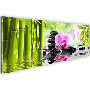 Bilder + Kunstdruck 502011a Bild auf Vlies Leinwand XXL Kunstdrucke 110 x 40 cm Blumen Bambus Orchidee Wandbild grün pink