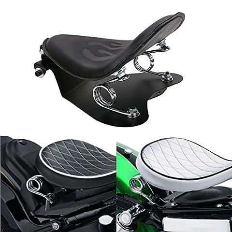 aochuang Motorrad Diamant Muster Leder Solo Treiber Sitzbezug Pad + Halterung + 2Federn + Sitzfläche für Harley Suzuki Honda Yamaha Kawasaki Sporster Bobber Chopper