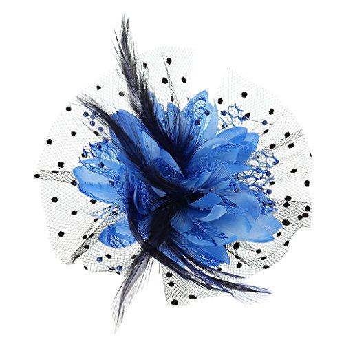 VIccoo Frauen-Brautmaschen-Bogen-Feder-Korne, die Fascinator-Punkt-Schleier-Haar-Klipp-Brosche Wedding sind - Blauer See