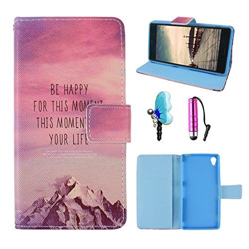 Preisvergleich Produktbild Handyhülle Sony Xperia Z3 Rosa Leder, Xperia Z3 Wallet Case, Xperia Z3 Bumper, Xperia Z3 Flip Case, Xperia Z3 Hülle Leder, Moon mood® PU Ledertasche Schutzhülle für Sony Xperia Z3 (5.2 Zoll) TPU Innere Tasche Magnetverschluss Knopf 2 Kartenfächer Bunte Malerei Standfunktion Geldbörse Handytasche mit Rosa Stylus Pen Eingabestift und 3,5mm Kristall Diamant Schmetterling Staub Stecker (Weiß Schneegebirge Weinrot Himmel Wolke)