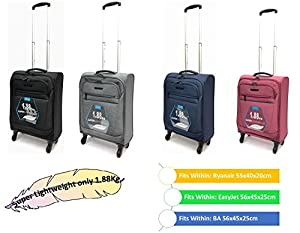 "21"" Super Lightweight Twill-Style Ryanair and EasyJet Cabin Approved Hard Wearing Trolley Wheeled Luggage Bag (Fits WITHIN 21 inch 55cm x 40cm x 20cm & 56cm x 45cm x 25cm)"