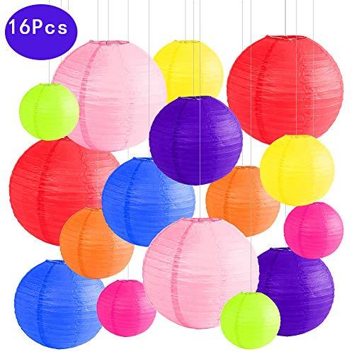 Runde Papierlaterne, 16 Stück Papier Lampions Schöne Hochzeit Deko Papierlampe rund Papier Laterne Lampenschirm Garten Party Dekoration Ballform Größen