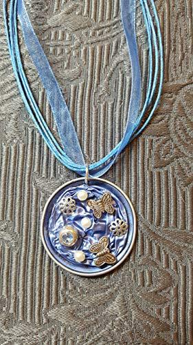 Anhänger aus Nespresso®Kapseln Blau mit Schmetterlingen, Halskette