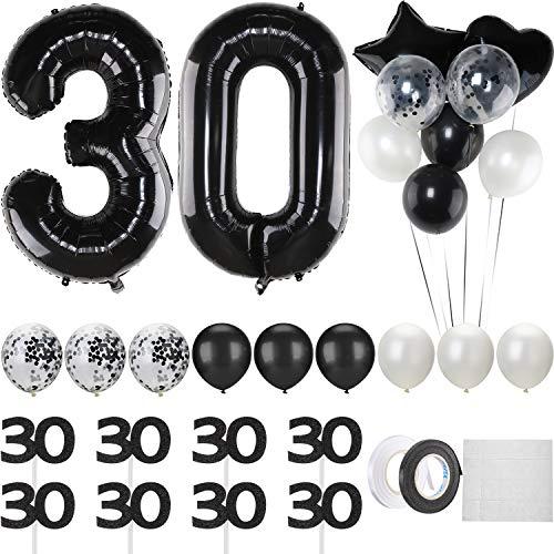 Hsei Schwarze 30. Geburtstag Dekoration, 40 Zoll Luftballon mit 30 Ziffern, Weißer und Schwarzer Luftballon, Satz mit Schwarzen 30 Cupcake Aufsätzen für 30. Geburtstag Jubiläum Party Dekoration