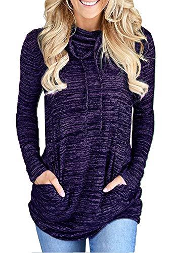 Sweat Femme à Manches Longues en Col Bénitier Cordon de Serrage en Sweat-Shirt Pullover Top (Violet, M)