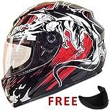 Leopard LEO-819 Full Face motocicleta motocicleta bicicleta accidente casco + Visera extra de humo oscuro Dragón M (57-58cm)