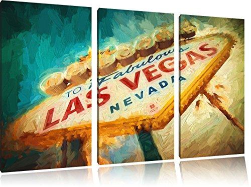 Las Vegas Schild Retro 3-Teiler Leinwandbild 120x80 Bild auf Leinwand, XXL riesige Bilder fertig gerahmt mit Keilrahmen, Kunstdruck auf Wandbild mit Rahmen, gänstiger als Gemälde oder Ölbild, kein Poster oder Plakat