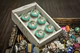 #1: Casa Decor New Year Sale of Set of 6 Cyan Round Filigeree Design Handmade Drawer Pull Cabinet Dresser Handle Wardrobe Ceramic Knobs