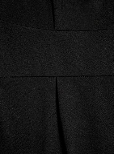 oodji Collection Damen Jerseykleid mit 3/4 Arm Schwarz (2900N)
