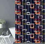 LINGCURTAIN Creative Gitter Geometrie Duschvorhänge Schwarz Orange Blaue Stoff, Wasserdichtes Anti-mehltau Badezimmer Dusche Vorhang 60