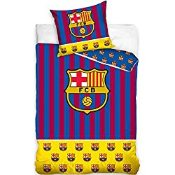 DHestia - F.C. Barcelona Juego de Cama 100% Algodón Funda Nórdica + Funda Cojín Barça