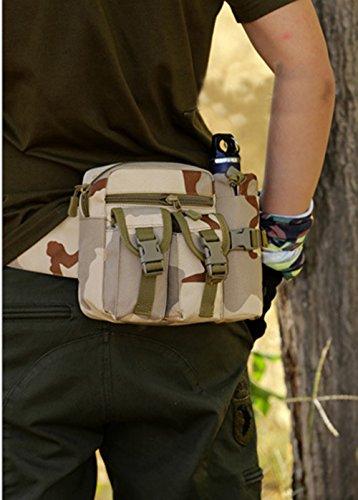 Sport Tent Camping Outdoor Tasche Taktische Sport Wasserdicht Hüfttasche mit Flasche Taille Tasche Gürteltasche Pouch für Wandern Laufen Radfahren Camping Reise Klettern Trekking Jagd Tarnung 5