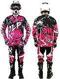 Tenue Enfant 7-8 Ans Moto Cross Quad VTT BMX MTB Pantalon Gants Maillot Pink Rose JLP...