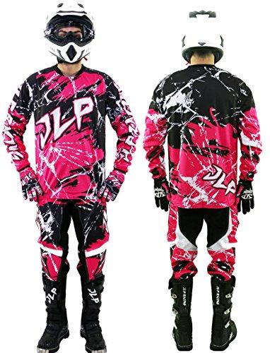 Tuta per bambini di 10-12 anni, per motocross, quad, MTB, BMX - pantaloni con maglia e guanti, colore: rosa, con scritta 'JLP Racing', taglia US 26/XL