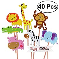 Unique Store 40pcs Jungle Animal Cupcake Toppers for Kids Party Decoration Baby Shower Birthday Safari Cake Toppers