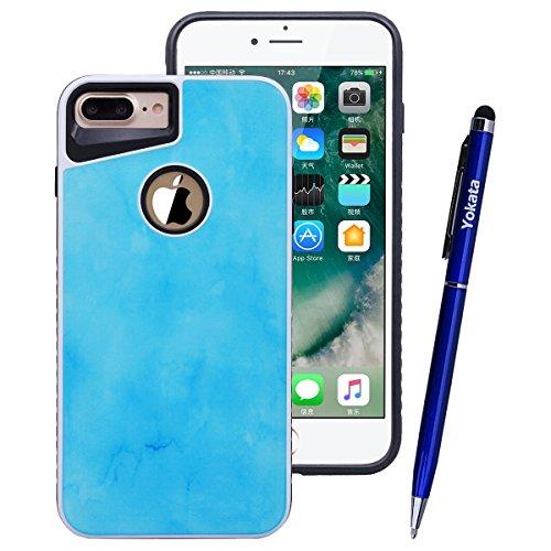 Yokata Cover per iPhone 7 Plus Custodia Case Durevole PC Backcover Protettiva Caso Tecnologia Epossidica con Marmo Design 2 in 1 Protezione Shell + Penna - Blu Navy Blu