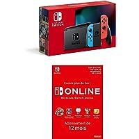 Nintendo Switch avec Paire de Joy-Con Rouge Néon et Bleu Néon Switch Online - Abonnement 12 Mois (Code de téléchargement…