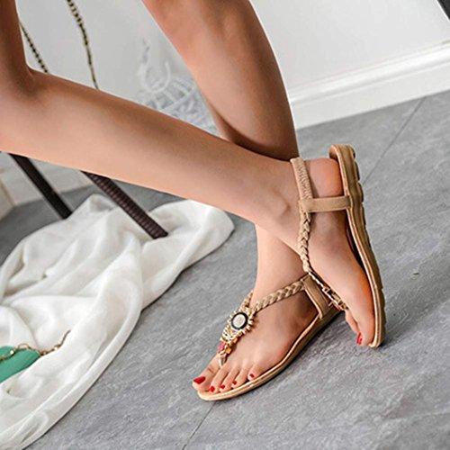 Tongs Été , Oyedens Femme Tongs Doux Fashion Clip Toe Flats Femmes Herringbone Bohême Sandales Beige