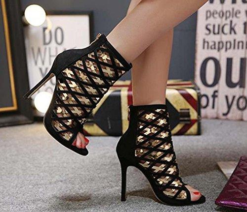 Stivali Peep Toe Con Tacco Romano Stivali Freddi Con Tacco Alto Con Frange E Scarpe Da Sera Per Donna Black