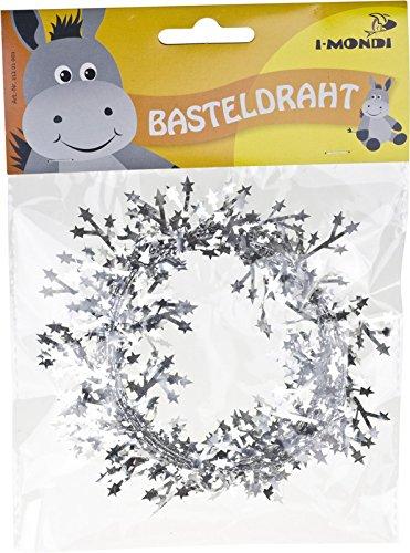 i-mondi Basteldraht mit Sternen, 1 Stück, Länge: 2,75 m, Silber