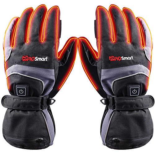 PROSmart Beheizte Handschuhe Wasserbeständig Beheizbare Handwärmer mit Akku für Damen Herren Skifahren Snowboarden (Schwarz+Grau, M)