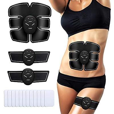 ENKEEO Elektrische Muskelstimulation EMS Bauchmuskeltrainer Elektrostimulation Muskelstimulator mit 10pcs Replacement Pads, 6 Simulationsmodi, 10 Intensitäten für Damen und Herren von ENKEEO