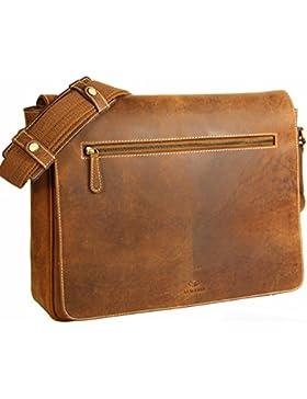 ALMADIH XL Leder Messenger aus Rindsleder braun Vintage M28 - Ultraleicht mit vielen Fächern - Ledertasche Umhängetasche...