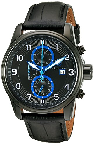 S.Coifman Men's Quartz Watch with Black Dial Chronograph Display and Black Leather Strap SC0313