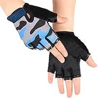 YJZQ Sport Handschuhe Anti-Rutsch Halbe Fingerhandschuhe Fahrrad Fitness Traininghandschuhe Atmungsaktiv Fingerlose Handschuhe für Radsport Angeln Gym und Gewichtheben
