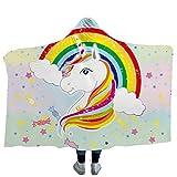 iBlan Mantas para sofá y Cama, Resistentes a Las Arrugas, Anti-Fade,Manta Encapuchada delUnicornio Rainbow UnicornManta para niños, 150 * 200 cm