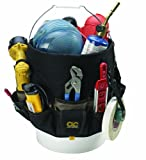 Fourteen double row pockets inside and thirty four triple row outside organize a wide range of tools and accessories;Tape strap and key clip included;Drill pocket with hook and loop handle strap;Designed to fit most standard 3 1/2 to 5 gallon buckets...