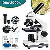 MAXLAPTER 2000x Mikroskopen Bewegliches Lineal Mikroskopen Labor LED mit vorbereiteten und leeren Objektträgern Mikroskop Zubehör