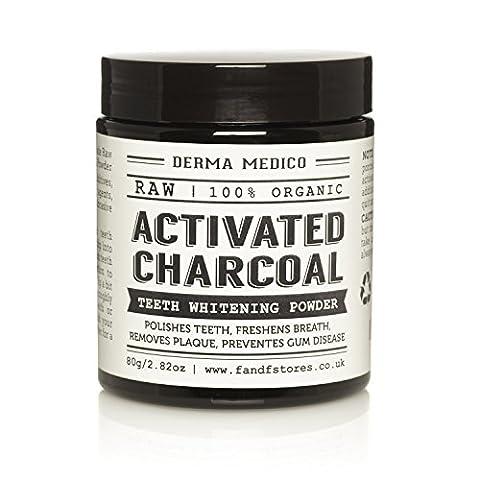 Poudre de blanchiment et éclaircissante crue charbon actif coquille de noix de coco par Derma Medico - nettoie les dents, rafraîchit l