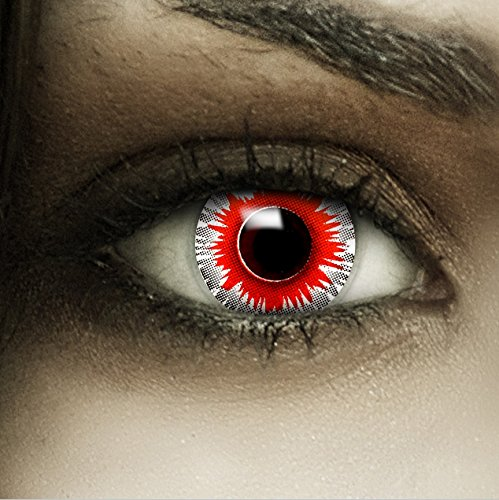 Farbige weiß rote Kontaktlinsen 'Demonic' + Kunstblut Kapseln + Behälter von FXCONTACTS®, weich, ohne Stärke als 2er Pack - perfekt zu Halloween, Karneval, Fasching oder Fasnacht