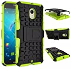 Newtronics Green Colour Flip Kick Stand Hard Dual Armor Hybrid Bumper Back Case Cover For Motorola Moto X Style